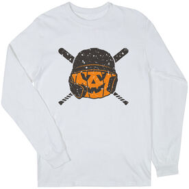Baseball Long Sleeve T-Shirt - Helmet Pumpkin