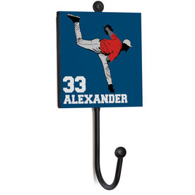 Baseball Medal Hook - Pitcher With Name And Number