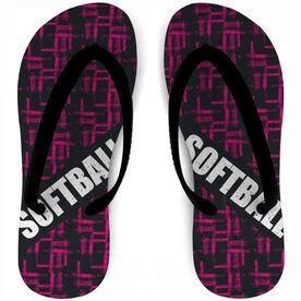 Softball Flip Flops Crosshatch