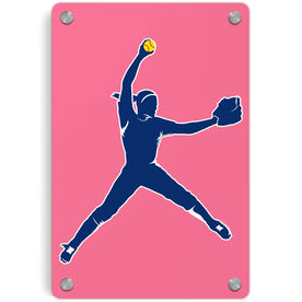 Softball Metal Wall Art Panel - Pitcher