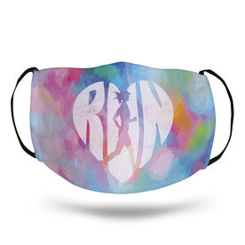 Running Face Mask - Love the Run Watercolor
