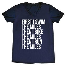 Women's Triathlon Short Sleeve Tech Tee - Swim Bike Run The Miles