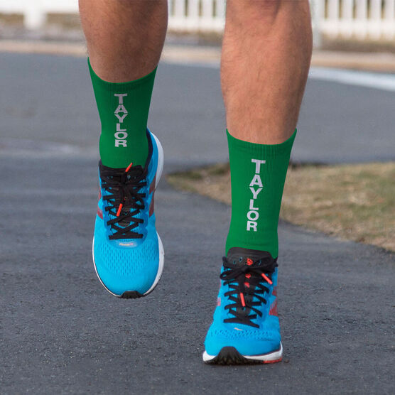 Printed Mid-Calf Socks - Personalized Text Vertical