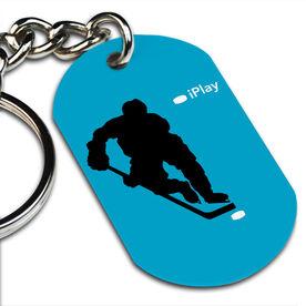 iPlay Hockey (Blue) Printed Dog Tag Keychain