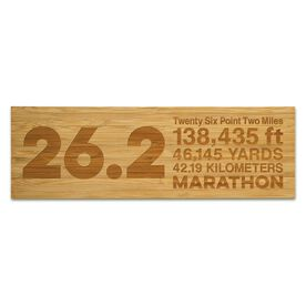 """Running 12.5"""" X 4"""" Engraved Bamboo Removable Wall Tile - 26.2 Math Miles"""