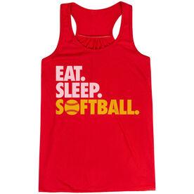 Softball Flowy Racerback Tank Top - Eat Sleep Softball