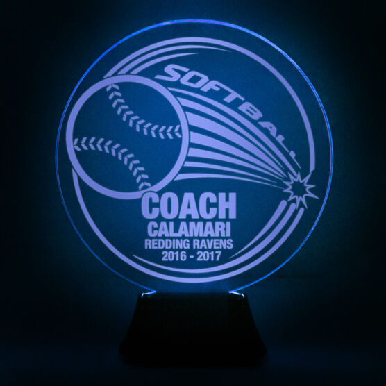 Softball Acrylic LED Lamp Home Run Coach With 3 Lines
