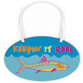Fly Fishing Oval Sign - Keepin' It Reel