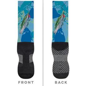 Fly Fishing Printed Mid-Calf Socks - Watercolor Deceiver