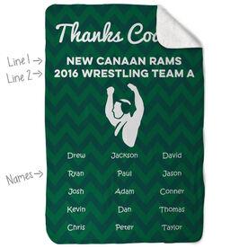 Wrestling Sherpa Fleece Blanket - Personalized Thanks Coach Chevron