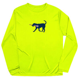 Girls Lacrosse Long Sleeve Performance Tee - LuLa the Lax Dog(Blue)