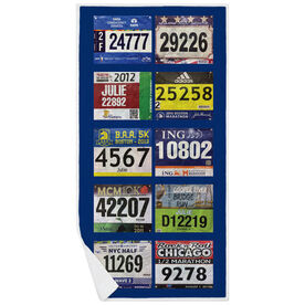 Running Premium Beach Towel - Your Race Bibs (10 Bibs)
