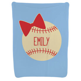 Baseball Baby Blanket - Personalized Baseball Bow