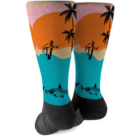 Fly Fishing Printed Mid-Calf Socks - Gray Ghost of The Flats