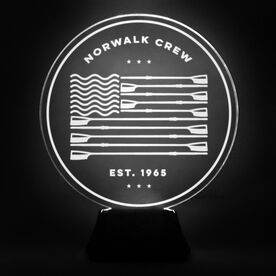 Crew Acrylic LED Lamp USA Flag With 2 Lines