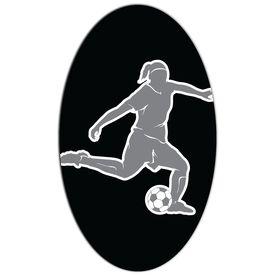 Soccer Oval Car Magnet Girl