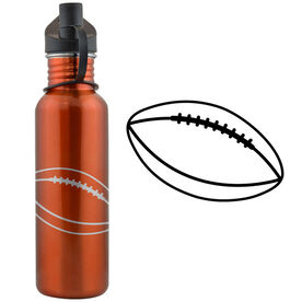 Football Ball 24 oz Stainless Steel Water Bottle