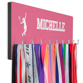 Tennis Hooked on Medals Hanger - Girl Silhouette With Personalization