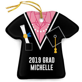 Personalized Porcelain Ornament - Graduation Outfit Shirt With Pearls