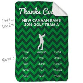 Golf Sherpa Fleece Blanket - Personalized Thanks Coach Chevron