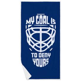 Hockey Premium Beach Towel - My Goal It to Deny Yours Helmet