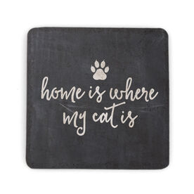 Stone Coaster - Home Is Where My Cat Is