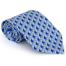 Hockey Players Pattern Blue Hockey Silk Tie