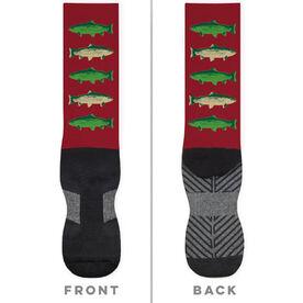 Fly Fishing Printed Mid-Calf Socks - Fish Outline
