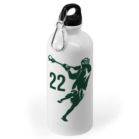 Guys Lacrosse 20 oz. Stainless Steel Water Bottle - Personalized Jump Shot Silhouette