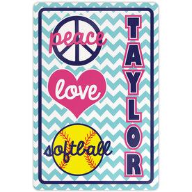 "Softball Aluminum Room Sign Personalized Peace Love Softball Chevron (18"" X 12"")"