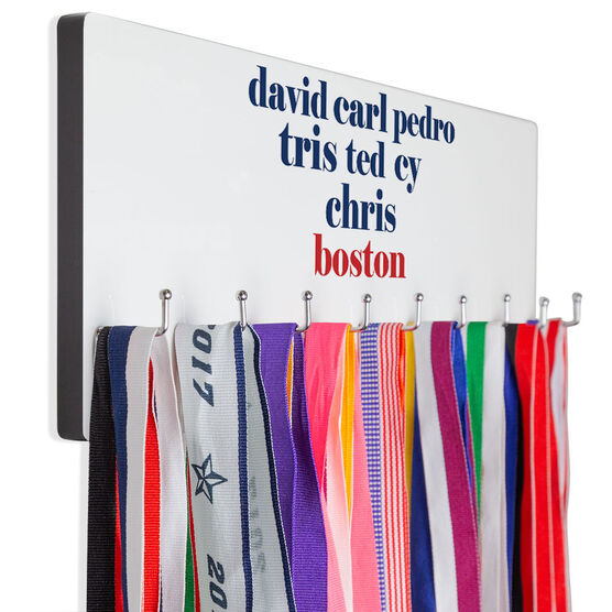 Baseball Hooked on Medals Hanger - Personalized Boston Mantra