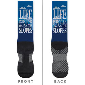 Skiing and Snowboarding Printed Mid-Calf Socks - Life Is Better On The Slopes