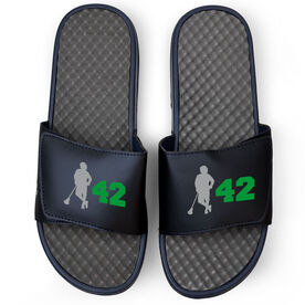 Guys Lacrosse Navy Slide Sandals - Latitude Lax Player with Number