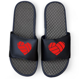 Volleyball Navy Slide Sandals - Volleyball Heart