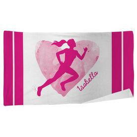 Cross Country Beach Towel Watercolor Heart Girl