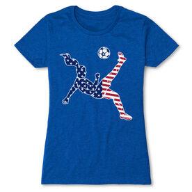 Soccer Women's Everyday Tee - Girls Soccer Stars and Stripes Player