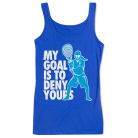Girls Lacrosse Women's Athletic Tank Top - My Goal Is To Deny Yours Goalie