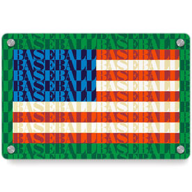 Baseball Metal Wall Art Panel - American Flag Mosaic