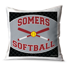 Softball Throw Pillow Personalized Softball Team With Crossed Bats