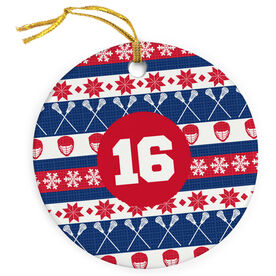 Guys Lacrosse Porcelain Ornament Christmas Sweater with Number