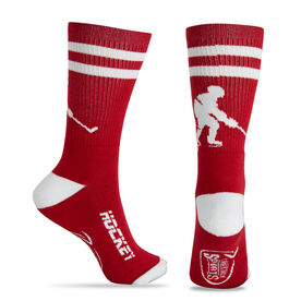 Hockey Woven Mid-Calf Socks - Player (Red/White)