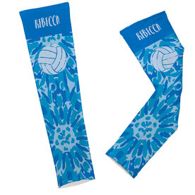 Volleyball Printed Arm Sleeves Personalized Tie Dye Floral Pattern with Volleyball