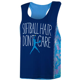 Softball Racerback Pinnie - Softball Hair Don't Care