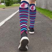 Girls Lacrosse Printed Knee-High Socks - Lacrosse Dog with Stripes
