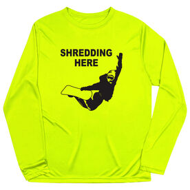 Snowboarding Long Sleeve Performance Tee - Shredding Here
