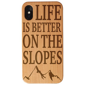 Skiing and Snowboarding Engraved Wood IPhone® Case - Life Is Better On The Slopes