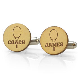 Tennis Engraved Wood Cufflinks Coach Name on Racket