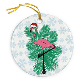 Girls Lacrosse Porcelain Ornament Flamingo Standoff
