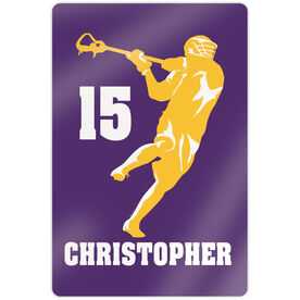 "Guys Lacrosse 18"" X 12"" Aluminum Room Sign - Personalized Jump Shot Silhouette"