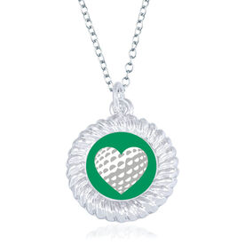 Golf Braided Circle Necklace - Ball Heart